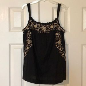 Lucky Brand black top with cream floral detail.